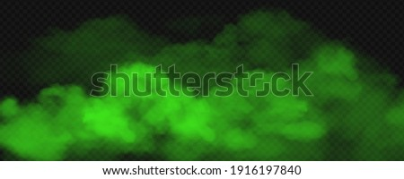 Green toxic smoke fog. Vector realistic illustration of big stink poison clouds, chemical vapour wave or magic green mist. Unpleasant bad smells gas on transparent background Сток-фото ©