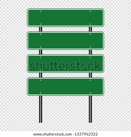 Green traffic sign,Road board signs isolated on transparent background. Vector illustration EPS 10 #1337962322