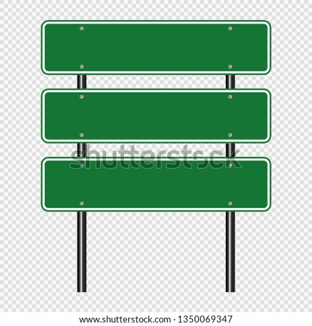 Green traffic sign,Road board signs isolated on transparent background. Vector illustration EPS 10 #1350069347