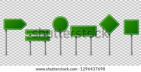 Green traffic signs. Blank horizontal warning danger way destination and stop city signage on metal steel pole isolated vector set #1296437698