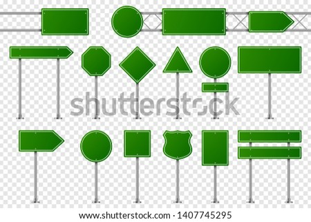Green traffic signs. Blank road board for warning, indicating direction, prohibition signage and arrow way on highway or city. Vector illustration.