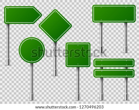 Green traffic signs. Road board text panel, mockup signage direction highway city signpost location street arrow way vector set #1270496203