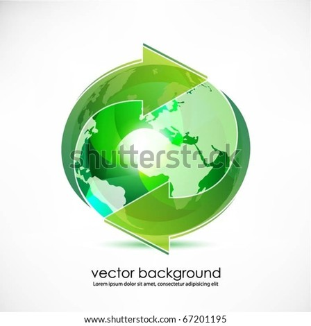 green translucent globe with arrows vector