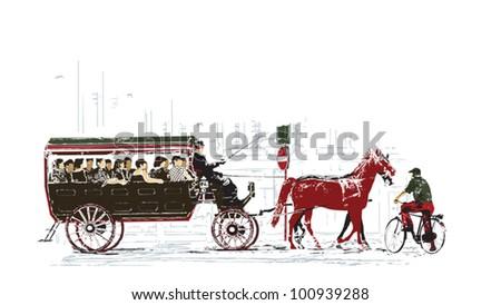 Green transport illustration