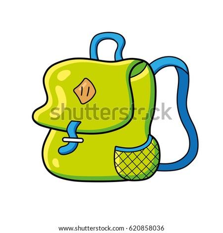 Green travel backpack or school bag isolated.