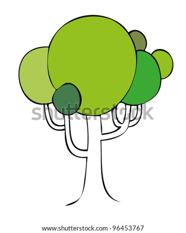 green tree - stock vector
