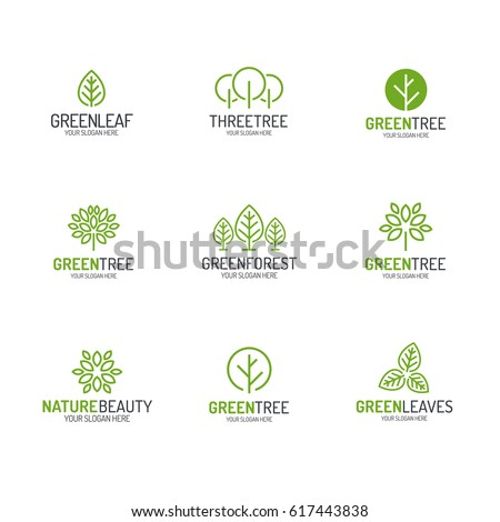 Green tree and leaves logo set line style for natural product store, organic shop, ecology company, nature firm, alternative medicine, green unity, garden, farming, forest etc. Vector Illustration