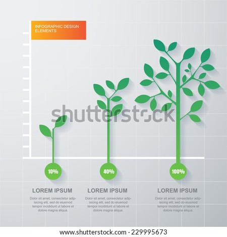 Green tree and plant diagram infographics template. Vector illustration. Business development and growth concept.