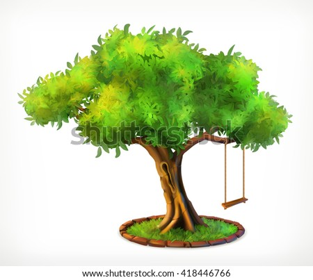 green tree and swing  vector