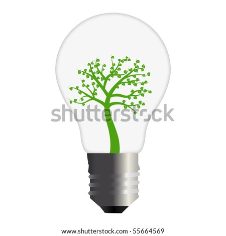 Green Tree Bulb - stock vector
