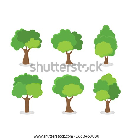 Green tree Fertile A variety of forms on the White Background,Set of various tree sets,Trees for decorating gardens and home designs.vector illustration and icon