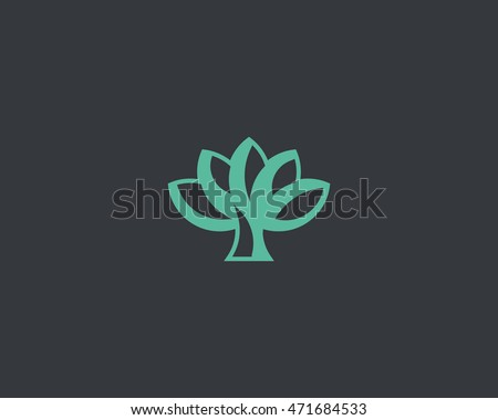 green tree flower logo icon
