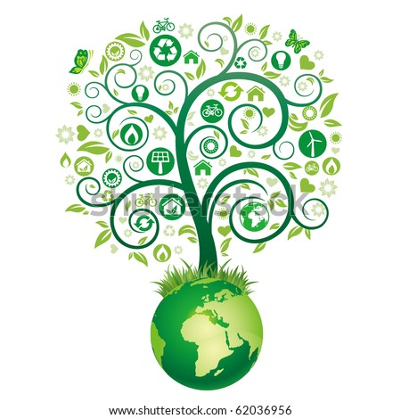 green tree illustration,environment icon