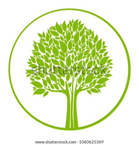 Stock Photo Green Tree isolated on a white background.  Logo tree. Vector illustration
