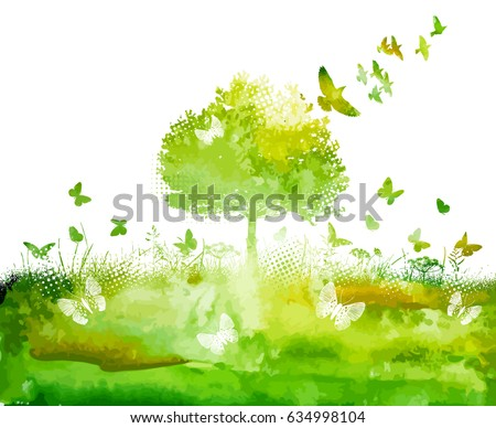green tree landscape with birds
