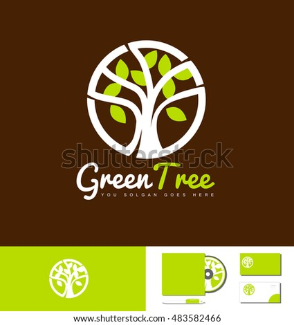 Green tree nature natural vector logo icon design