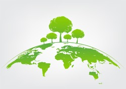 Green tree on earth for ecology friendly concept and World environment and sustainable development concept, vector illustration