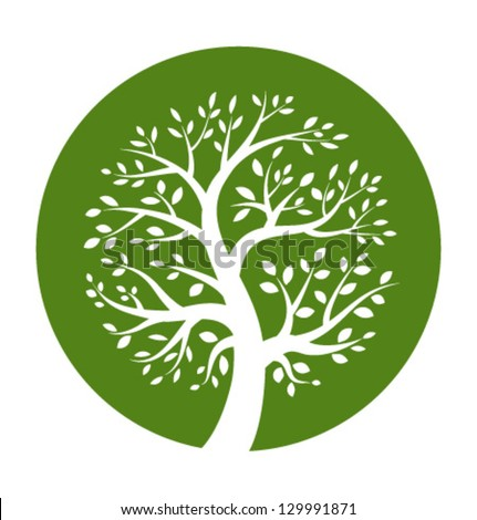 green tree round icon  vector