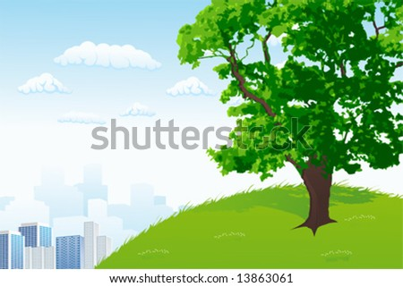 Green Tree with city panorama and cloudscape