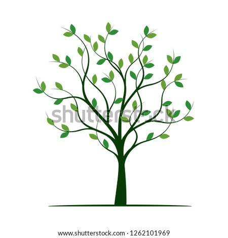 Green Tree with Leaves. Vector Illustration. Plant and Garden.