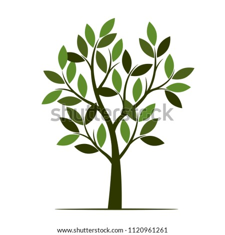 Green Tree with Leaves. Vector Illustration. Plant in garden.