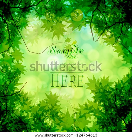 Green trees and bokeh vector background