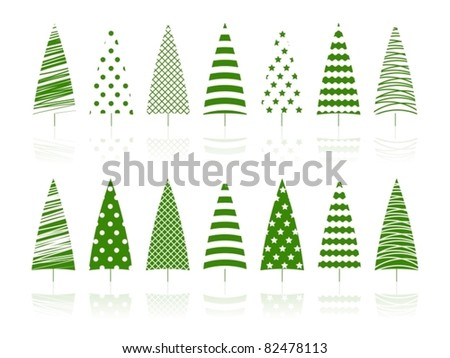 Green trees fir tree New Year Year decoration set. Vector illustration.