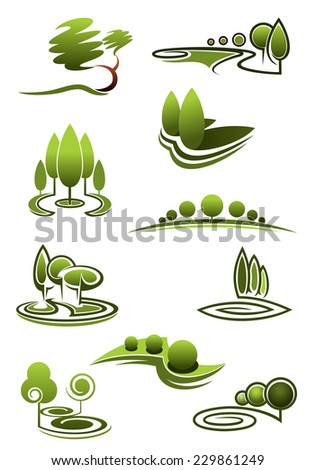 Green trees in landscapes icons with stylized rows or stands of trees in swirling scenery vector illustration on white