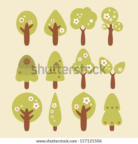 Green trees vector set