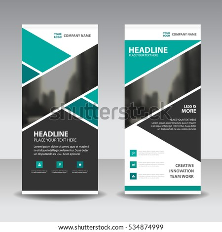 Green triangle  Business Roll Up Banner flat design template ,Abstract Geometric banner  Vector illustration set, abstract presentation brochure flyer vertical  vector #534874999