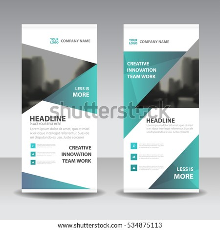 Green triangle Business Roll Up Banner flat design template ,Abstract Geometric banner  Vector illustration set, abstract presentation brochure flyer vertical  vector #534875113