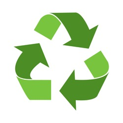 Green triangular eco recycle icons - vector