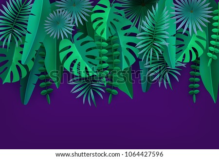 Green tropical leaves and plants Isolated on ultraviolet background Tropical foliage Volumetric image Cut paper Vector illustration