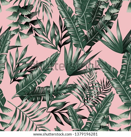 Green tropical palm banana leaves with shadow seamless vector patternon the pink background