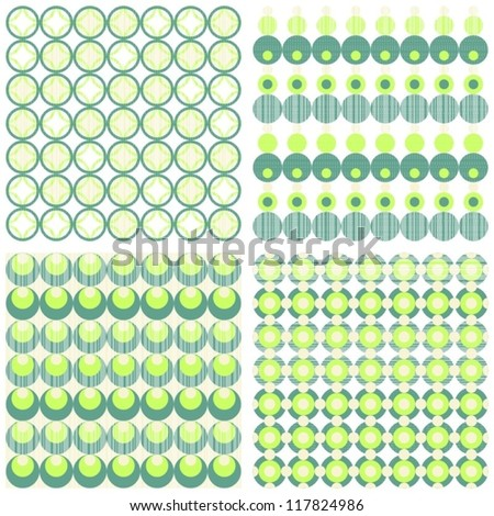green turquoise beige circles and dots scrapbook paper set