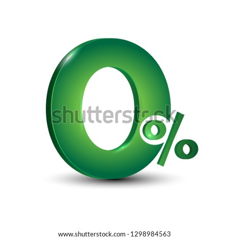 Green 0% typography art for installment promotion