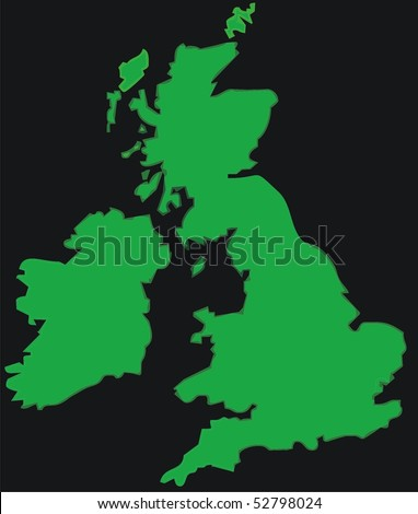 green UK map on black background - isolated vector illustration
