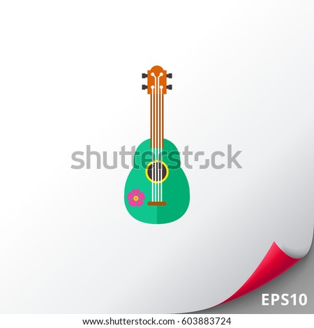 green ukulele vector icon