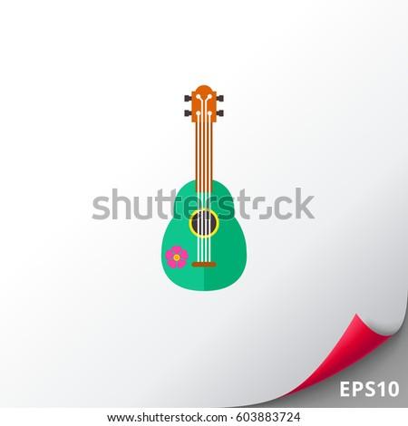 green ukulele vector icon