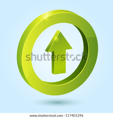 Green up arrow symbol isolated on blue background. This vector icon is fully editable.