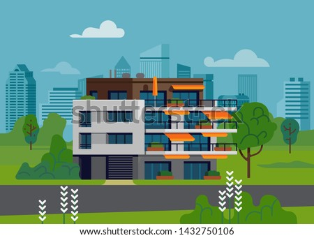 Green urban environment landscape with apartment building. Modern residential housing unit with terraces, penthouse or attic in ecologically clean area