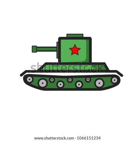 green ussr tank with red star