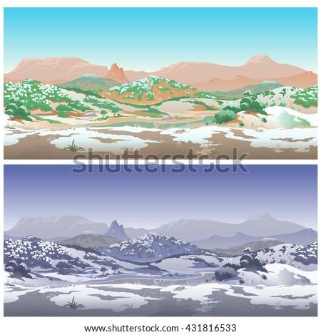 green valley in the desert in