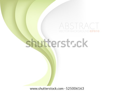 Green vector background curve line element on white space overlap paper layer for text and message artwork design