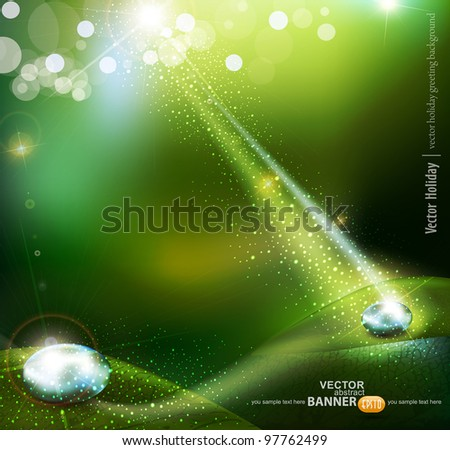 green vector background with a drop of dew