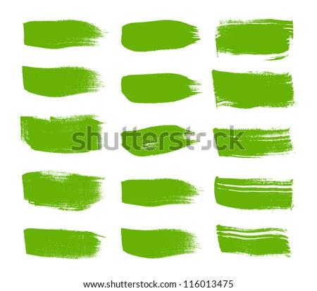 Green vector brush strokes collection