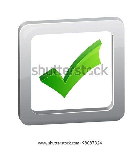 Green vector check box isolated on white background