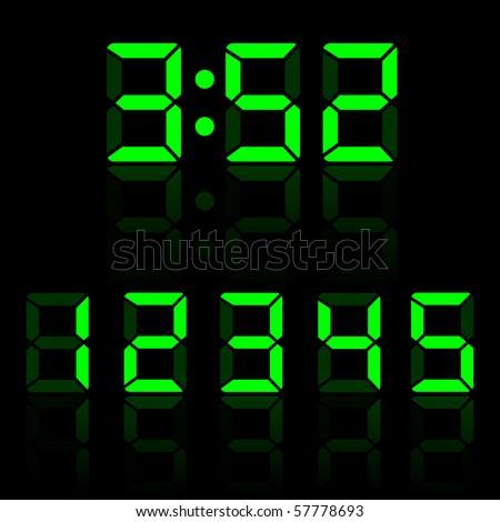 Green Vector Clock Digits