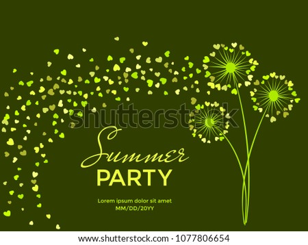 Green vector dandelion herbs, meadow flowers illustration. Floral windy background with dandelion blowing plant. Flowers with heart shaped feather. Abstract flying heart petals. Summer party.