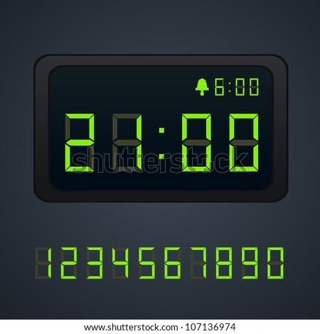 Green Vector digital clock